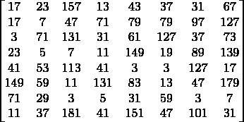 $$\begin{bmatrix} 17 & 23& 157& 13& 43& 37& 31& 67 \\ 17 & 7 &47 &71 &79 &79 &97 &127 \\ 3   &71 &131& 31 &61 &127& 37& 73 \\ 23  & 5 &7 &11 &149 &19& 89 &139 \\ 41  & 53 &113 &41 &3& 3 &127 &17 \\ 149 &59 &11 &131 &83 &13 &47 &179 \\  71 &29 &3& 5 &31 &59 &3& 7 \\ 11 &37 &181& 41& 151 &47 &101& 31  \\ \end{bmatrix}$$