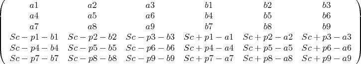 $\left( {\begin{array}{*{20}c}    {a1} & {a2} & {a3} & {b1} & {b2} & {b3}  \\    {a4} & {a5} & {a6} & {b4} & {b5} & {b6}  \\    {a7} & {a8} & {a9} & {b7} & {b8} & {b9}  \\    {Sc - p1 - b1} & {Sc - p2 - b2} & {Sc - p3 - b3} & {Sc + p1 - a1} & {Sc + p2 - a2} & {Sc + p3 - a3}  \\    {Sc - p4 - b4} & {Sc - p5 - b5} & {Sc - p6 - b6} & {Sc + p4 - a4} & {Sc + p5 - a5} & {Sc + p6 - a6}  \\    {Sc - p7 - b7} & {Sc - p8 - b8} & {Sc - p9 - b9} & {Sc + p7 - a7} & {Sc + p8 - a8} & {Sc + p9 - a9}  \\ \end{array}} \right)$